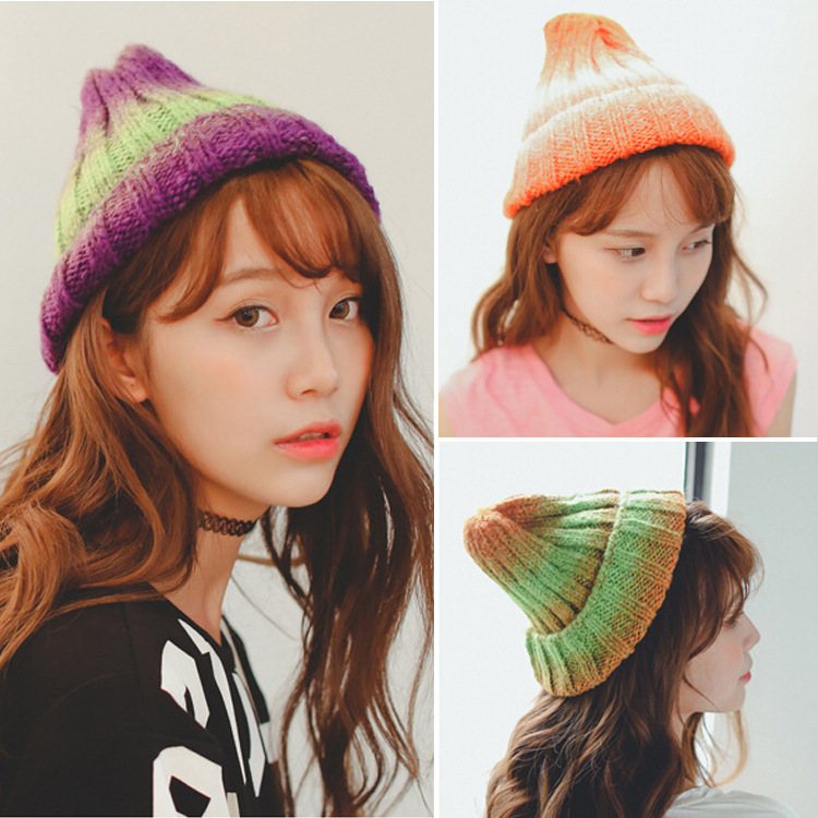 Han edition spot qiu dong the day han2 ban3 girl gradient fashionable joker knitting wool hat cute cartoon bear ms qiu dong the day man with thick warm knitting wool hat sets pointed cap