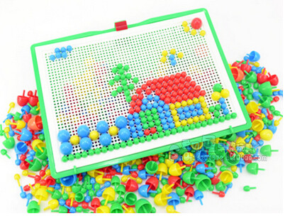 296 colorful mushroom nail puzzle intelligent plastic educational flashboard toys Jigsaw puzzle game Mosaic Pegboard flapper in Model Building Kits from Toys Hobbies