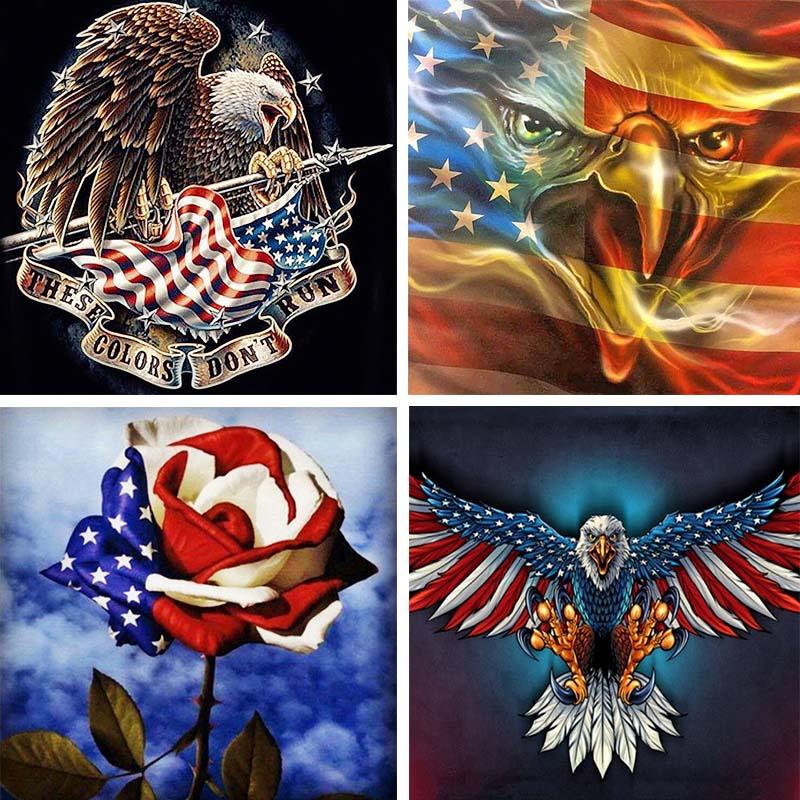 Full Drill 5d Diy Diamond Painting Eagle Animal Diamant American Flag Cartoon 3d Embroidery Rose Home Decor Y2