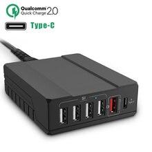 RODOT 6-Port USB Chargeur De Bureau avec Qualcomm Charge Rapide 2.0 Port avec Type-C Port Rapide Station De Recharge Mur chargeur