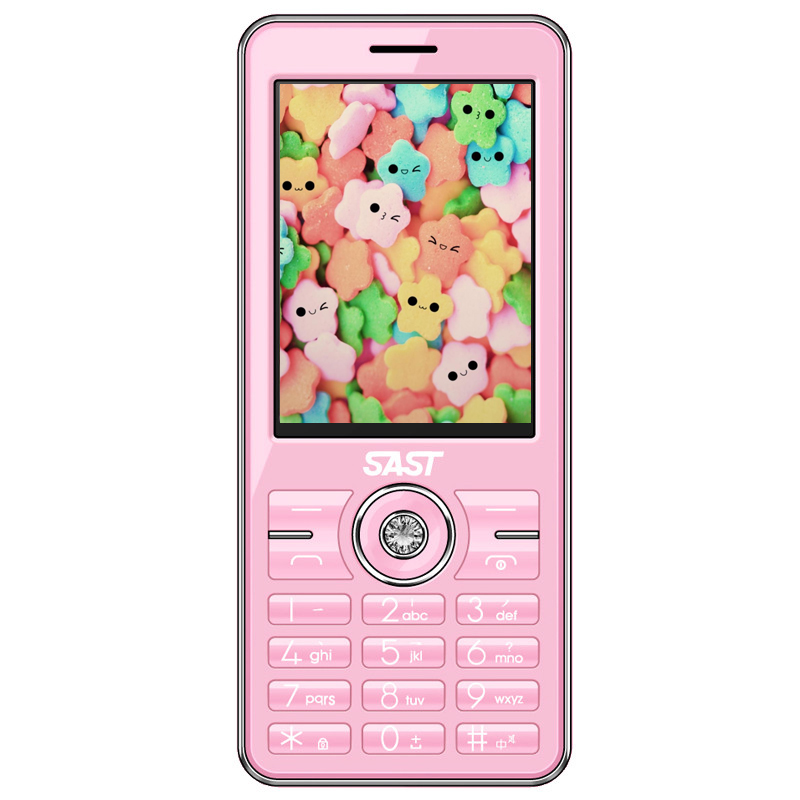 In stock Original SAST A589 Cell Phone pink color MTK 2 4 HD SCREEN size 122