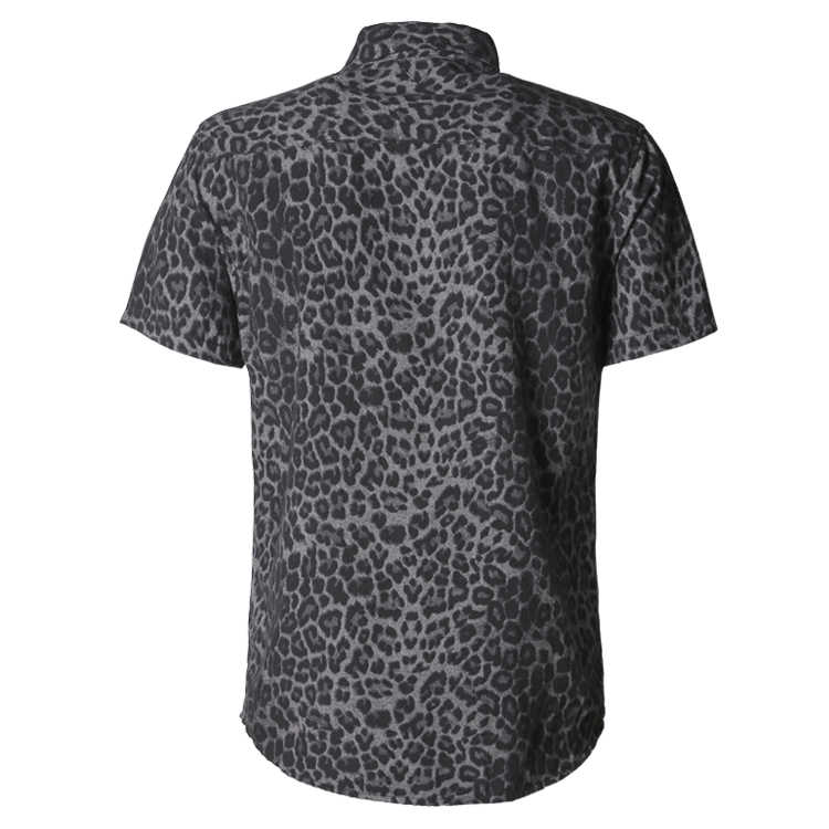 男性夏グレーヒョウスリム綿プリント新ヨーロッパスタイル半袖シャツ男性カジュアルブランドファッションシャツ S856
