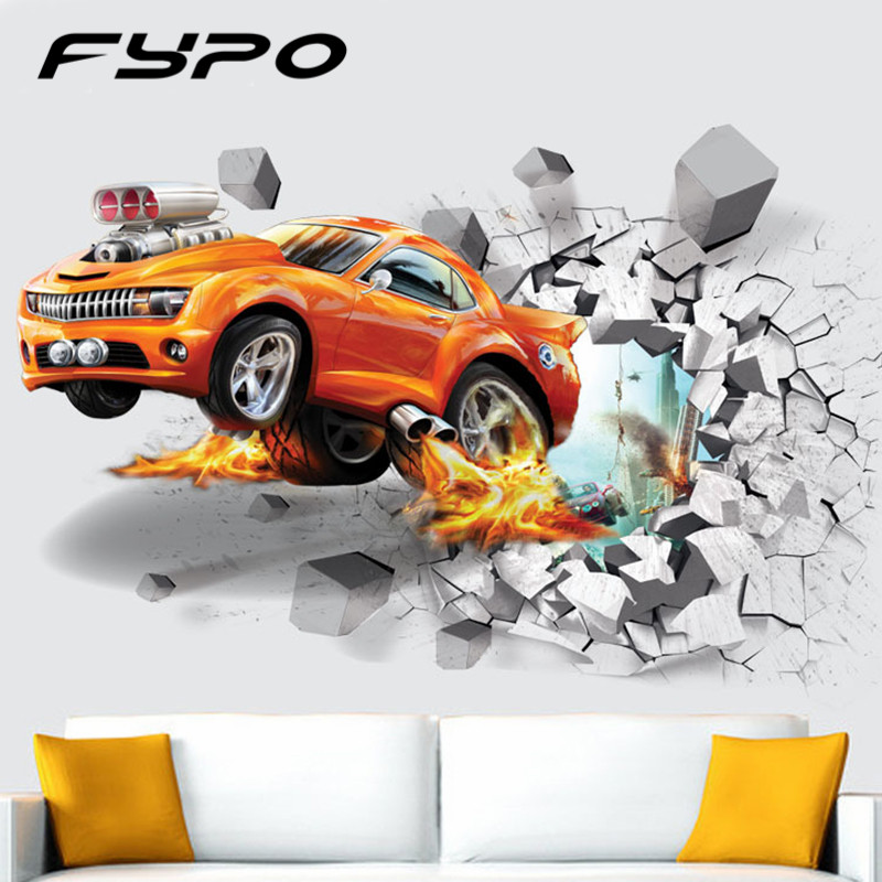 3D PVC Wall Stickers Creative Basketball Football Car Background Wall For Bedroom Living Room Fridge Children Wall Sticker Decal ...