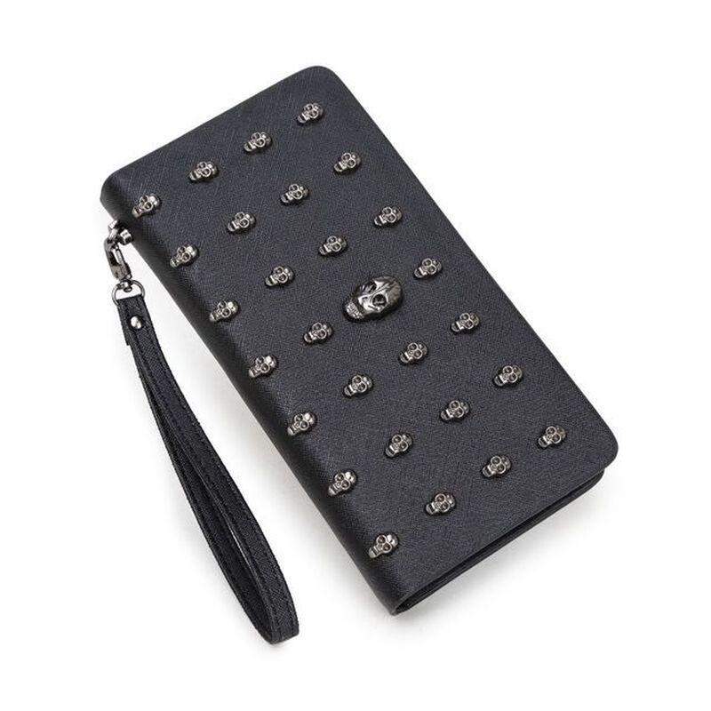 Vintage Skull Wallets Women Long Handbag Zipper Wallet Skeleton Purse Clutch Card Holder Carteira Man Wallet
