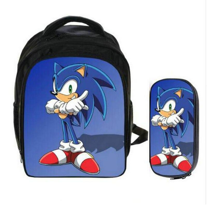 13 Inch Super Mario Bros Sonic Backpack Kids School Bags For Boys Schoolbag Baby Kindergarten Child Bags Pencil Bag Sets