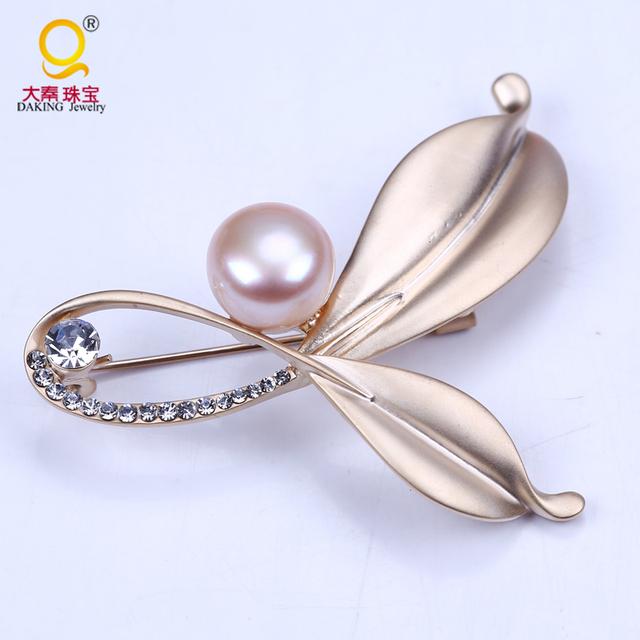 Belas banhado a ouro folha forma broche elegante rosa pérola pin broche custume acessórios