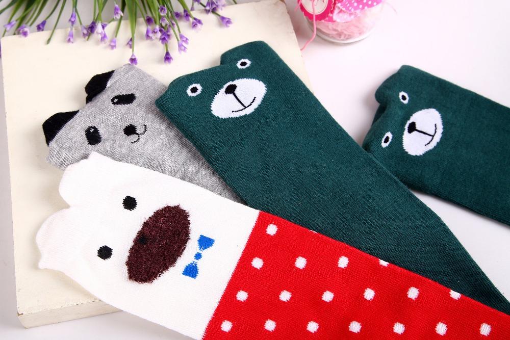 2017 Nowa Wiosna Jesień Dzieci Skarpetki Bawełniane Drukowanie 3D Kot Moda Cartoon Niedźwiedź Taniec Skarpetki Maluchy Dziewczynek Knee Socks 4