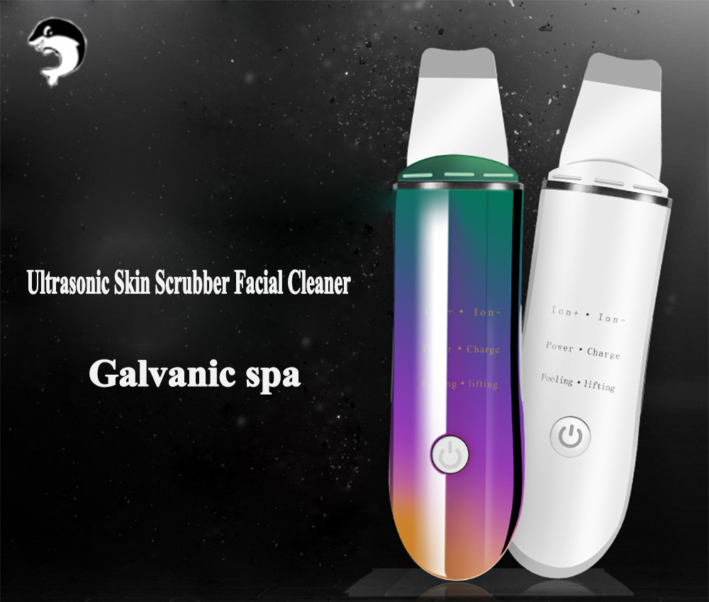 Skin Ultrasonic Scrubber Deep Face Cleaning Skin Massager Vibration Face Skin Care Peeling Blackhead Acne Removal Galvanic Spa
