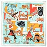 POBING Элитный бренд 100% твил Шелковый шарф женщина письмо Leopard средства ухода за кожей Шеи палантины, шарф квадратный женский большой размеры ш...