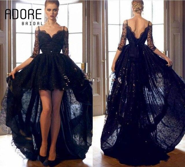 b65364d9969 Zuhair Murad 2017 Черный Sexy Кружева Вечернее Платье Backless Аппликации  Спагетти Ремень Половина Рукава Высокий Низкий