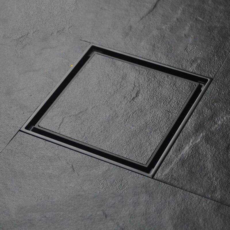 Анти-запах Ванна Душ Drainer напольный фильтр 10x10 см Твердый латунный квадратный Невидимый ванная напольный слив сточная решетка