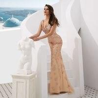 Вечернее платье с открытой спиной, длинный прозрачный тюль наряд для церемоний, современное шампанское, бисероплетение, праздничное платье