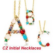 Jewelry Necklace Letter Pendant Initial-Name Vnistar CZ Women Alphabet A-Z 100%Cubic-Zirconia