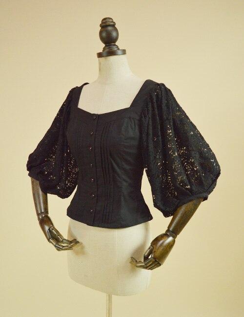 Dentelle Lanterne Vintage Femmes Fille Pour Blouse De Manches Creux rose Noir Carré Col Crochet ivoire Top Rétro HCgIq1xwzC