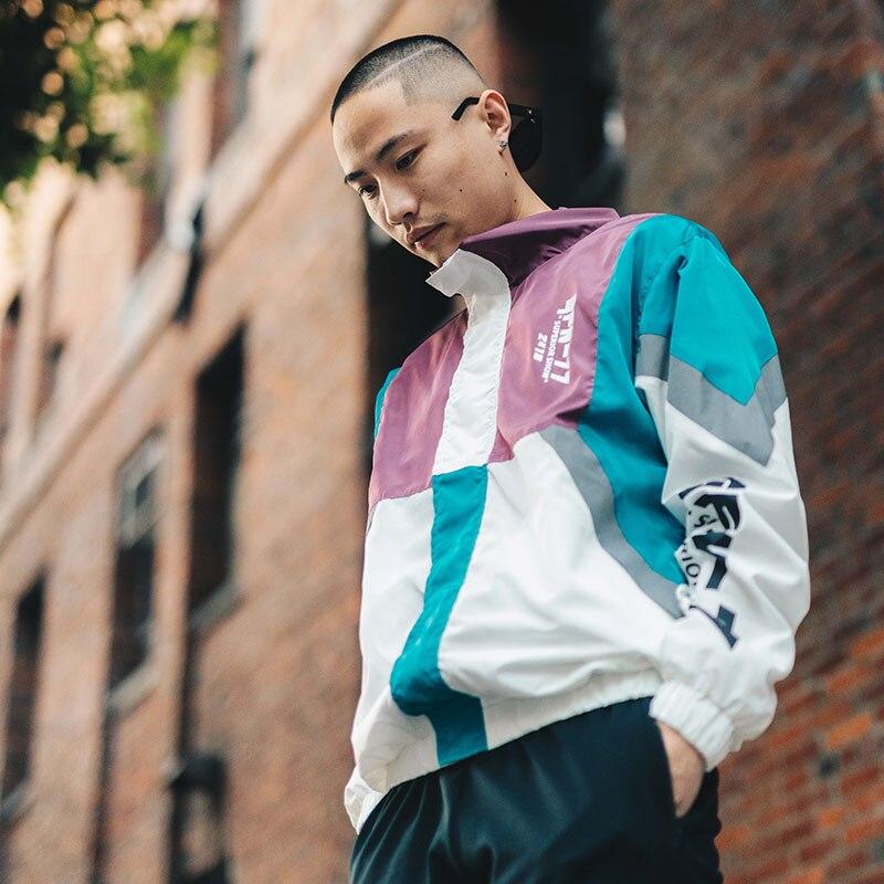 Casual Hop Moda Bloque Otoño Chaqueta Chaquetas Mens Hip Black White 2018 Streetwear Windbreaker A27a19 Vintage Cremallera Harajuku De a27a19 Color wXwv1C