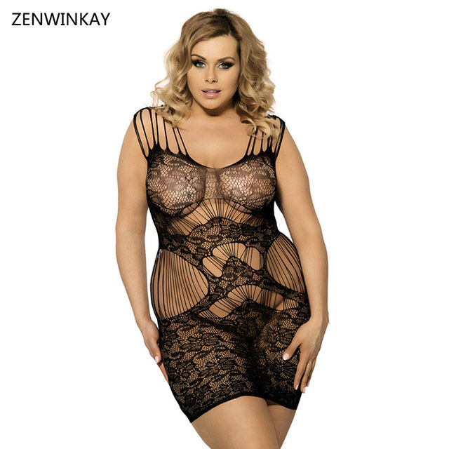 641d9bfc39 Female Black Babydoll Dress Sexy Lingerie Women Lace Teddy Lingerie Mesh  Sexy Fishnet Dress Plus Size XL