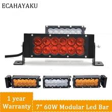 ECAHAYAKU 120w 2Row DIY length 15 LED Work Light Bar For Truck Atv 4x4 Offroad Combo Beam Amber White Warning Barra Fog Lights