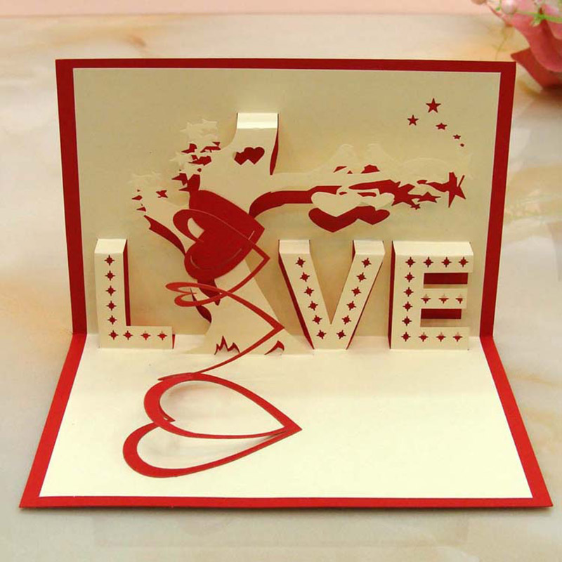 1pcs 3d card creative love valentine 39 s day greeting cards for 3d christmas cards to make at home