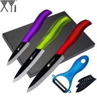 High Grade XYj Brand Ceramic Knife 5 Piece Set A Blue Peeler 3 4 5 Inch