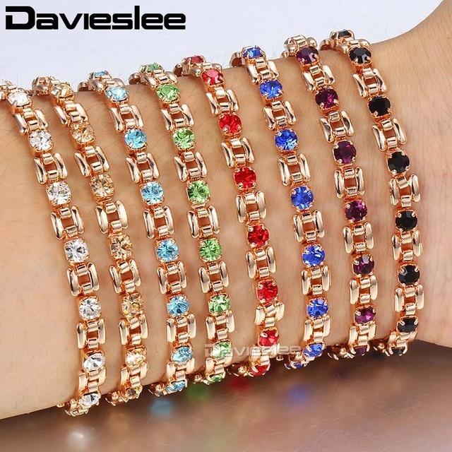 Davieslee Womens Bracelet Jewelry Square Bismark Multi Colors CZ Stone 585 Rose Gold Bracelets For Women Gifts 5.5mm LGBM101