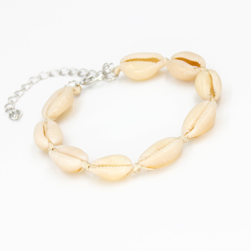 Women fashion hot natural white shell bracelet simple lobster buckle conch bracelet hand woven in Wrap Bracelets from Jewelry Accessories