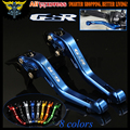 With Logo(GSR) Blue CNC Adjustable 2 finger Short Motorcycle Brake Clutch Levers For Suzuki GSR600 2006 2007 2008 2009 2010 2011