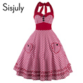 Sisjuly 1950 s mulheres vestidos 2017 halter mangas bow-nó do vintage party dress pin up rockabilly estilo vintage da moda vestidos