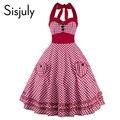 Sisjuly 1950 s vintage женщины платья 2017 холтер рукавов лук-узел партия dress pin up рокабилли моды стиль винтаж платья