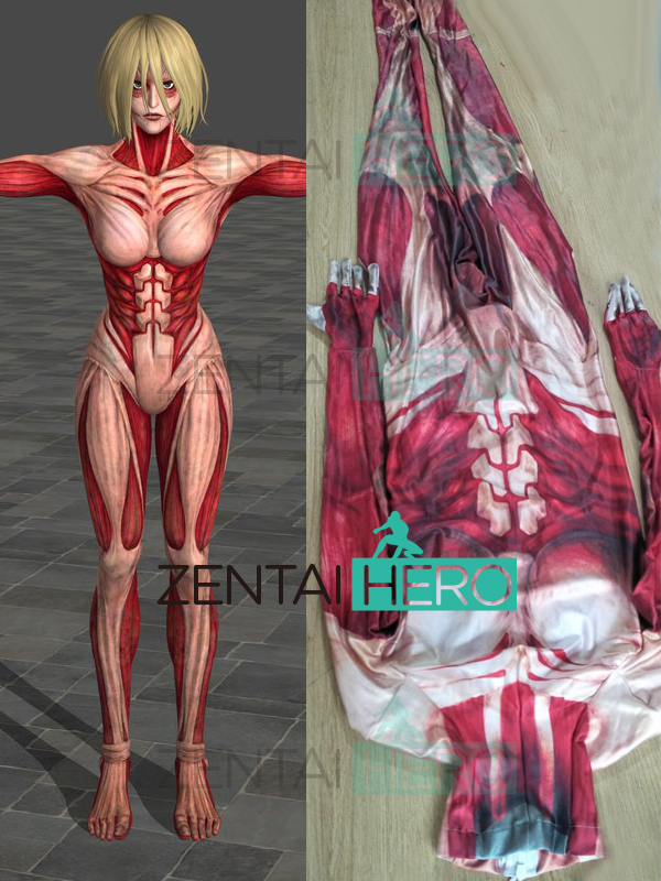 Free Shipping 3D Printting Attack on Titan Female Titan Cosplay Costume Lycra Annie Leonha Female Gigantic Costume No Head