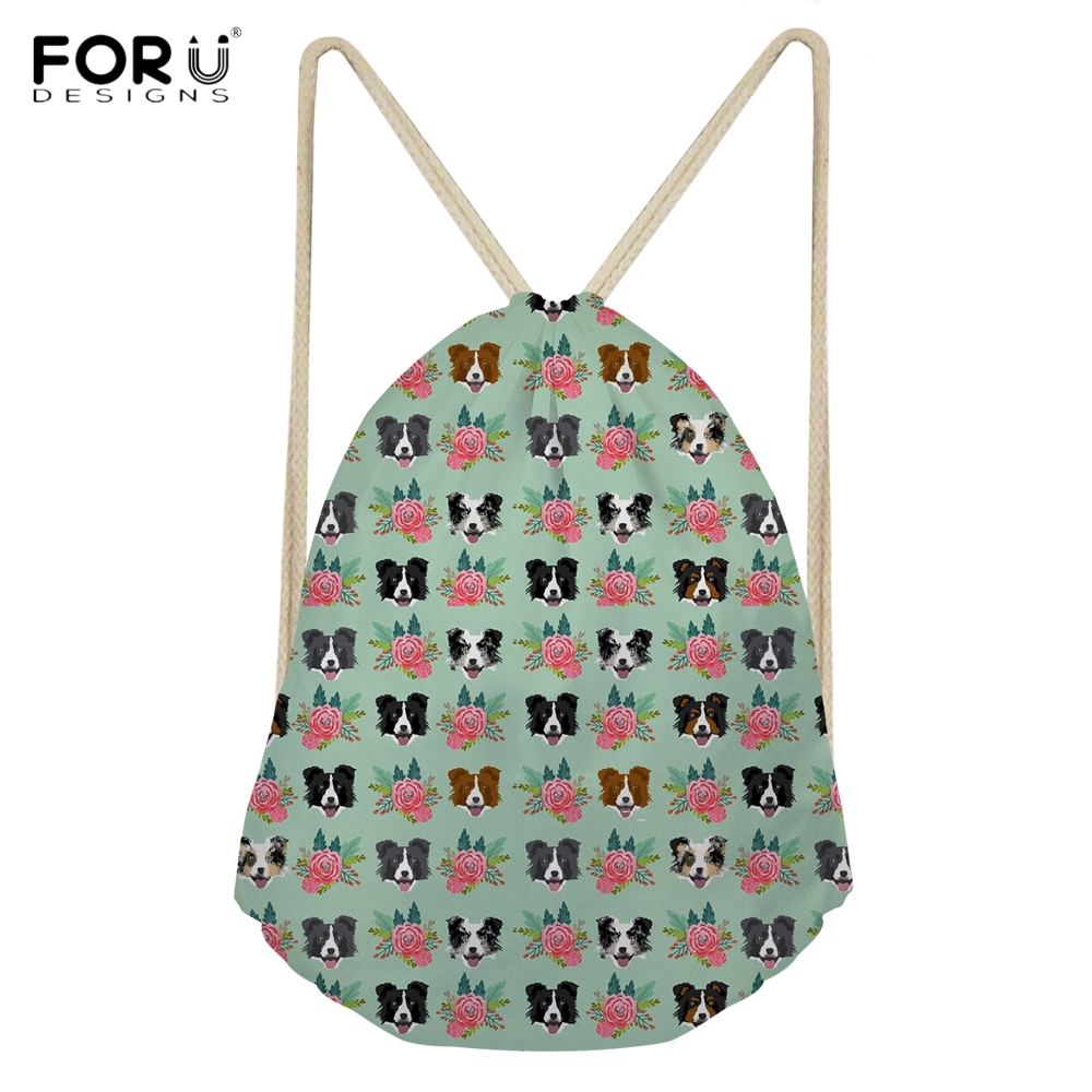 FORUDESIGNS Casual Woman Drawstrings Bags Cute 3D Animal Border Collie Floral Printing Female Backpacks Multi-function Sack Bags