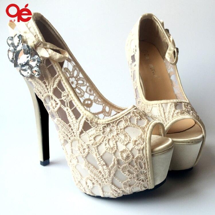 Hot selling women shoes pumps sexy lace rhinestone mesh hollow open toe high heels ladies fashion brand nude wedding platform