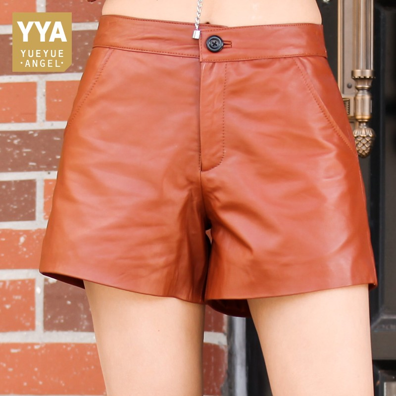 2020 New Winter Womens Shorts High Quality Genuine Leather Shorts Female Slim Fit High Waist Wide Leg Shorts Plus Size M-3XL