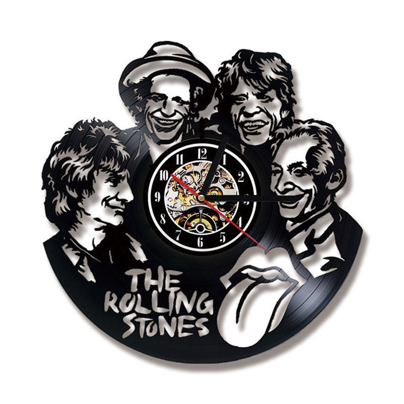 The Rolling Stone Rock Band Wall Clock Modern Design Music Vinyl Record Clocks Hanging Wall Watch Home Decor Gift For Birthday