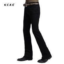 Men's Business Casual Jeans Male Mid Waist Elastic Slim Bootcut Semi-flared Four Seasons Bottom Jeans 28-38