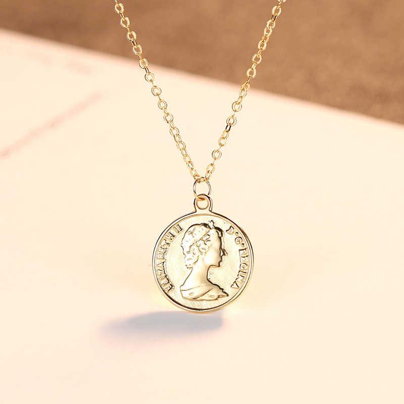 リアル 14 18k イエローゴールドネックレスヴィンテージ宗教信仰ネックレスペンダント女性男性ゴールドジュエリー