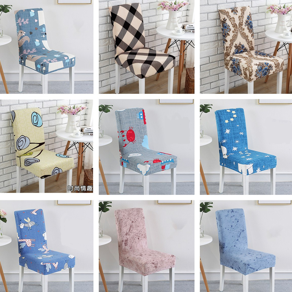 Dining Chair Covers Aliexpress Counter High Table And Sets 1pieces Printing Cover Spandex Wedding