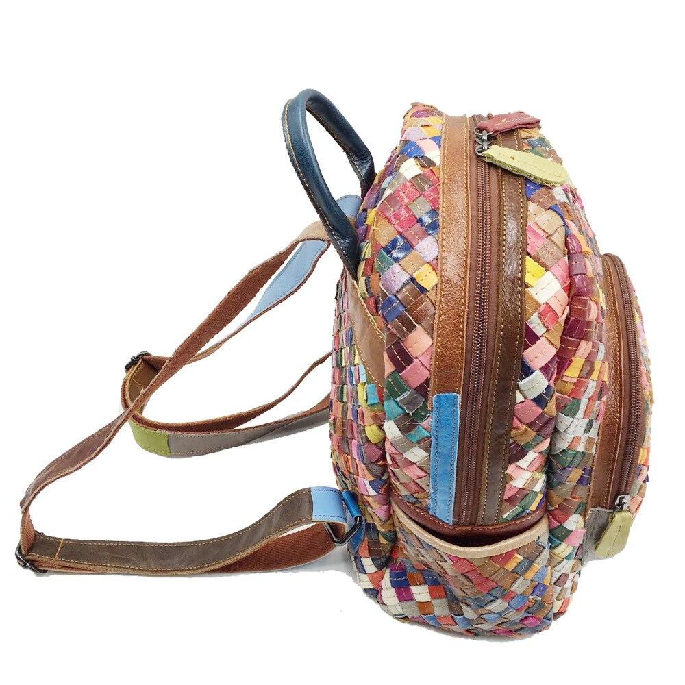 LilyHood Echtem Leder Mini Rucksack Weibliche Mode Beiläufige Elegante Schaffell Feminine Bunte Patchwork Kleine Nette Rucksack-in Rucksäcke aus Gepäck & Taschen bei  Gruppe 3