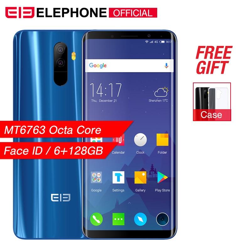 "Elephone U 5.99"" 18:9 Screen 6GB+128G Face ID Mobile phone Android 7.1 MT6763 Octa Core 13MP dual back Camera 4G LTE Smartphone"