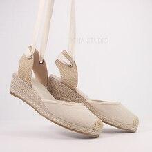 5 Cm Nêm Gót Nữ Mùa Hè Espadrilles Giày Sandal Màu Be Và Màu Đen