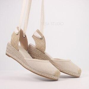 Image 1 - 5cm wedge heel women summer espadrilles sandals in beige and black color