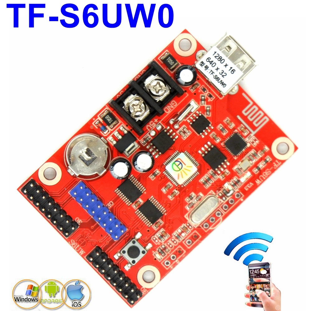 TF-S6UW0 WIFI LED Control Card 1280*16 Pixels Single,dual Color Wireless Module Led Drive Board P10,p13.33,p16,f3.75 Support
