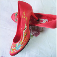 counters authentic embroidered shoes satin bridal heels cheongsam 806 free shipping