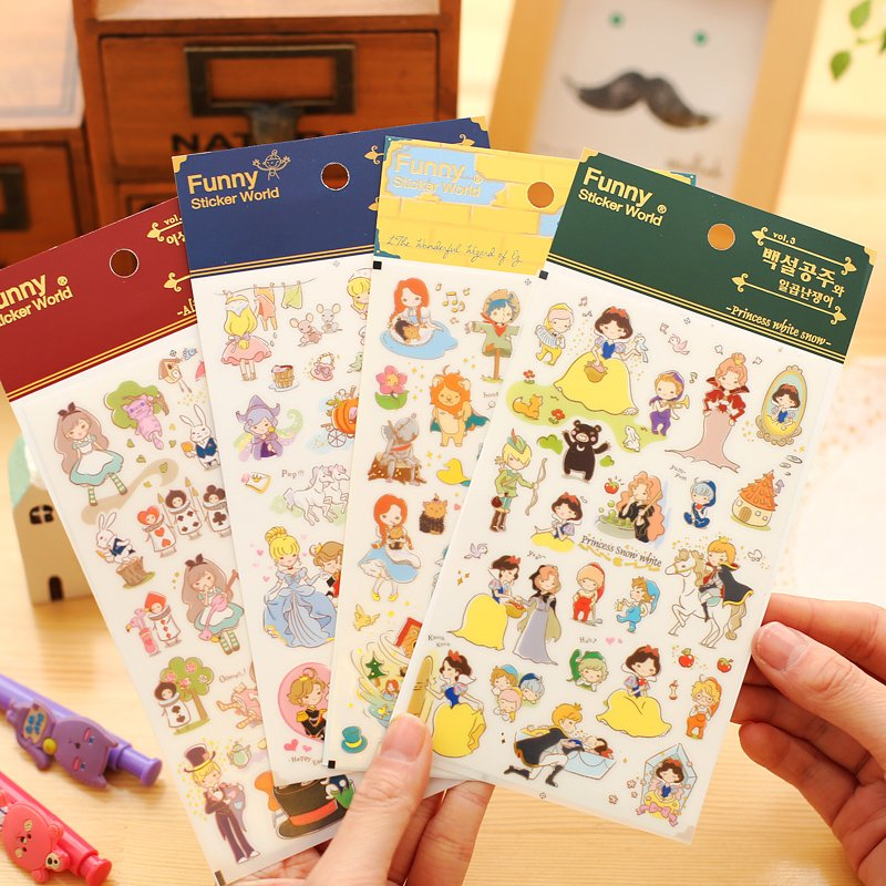 4 pcs/Lot Fairy Tales stickers Princess story White snow Cinderella Alice OZ Funny sticker world for phone diary girl gift 6926 english fairy tales