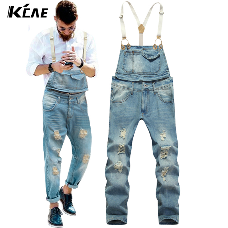New 2017 Brand Mens Bib Denim Overalls Slim Fit Men's Jeans Coveralls Pants With Suspenders  jeans top Size M-2XL new mens skinny jean overalls blue suspenders multi pocket bib pants holes denim trousers size m 2xl