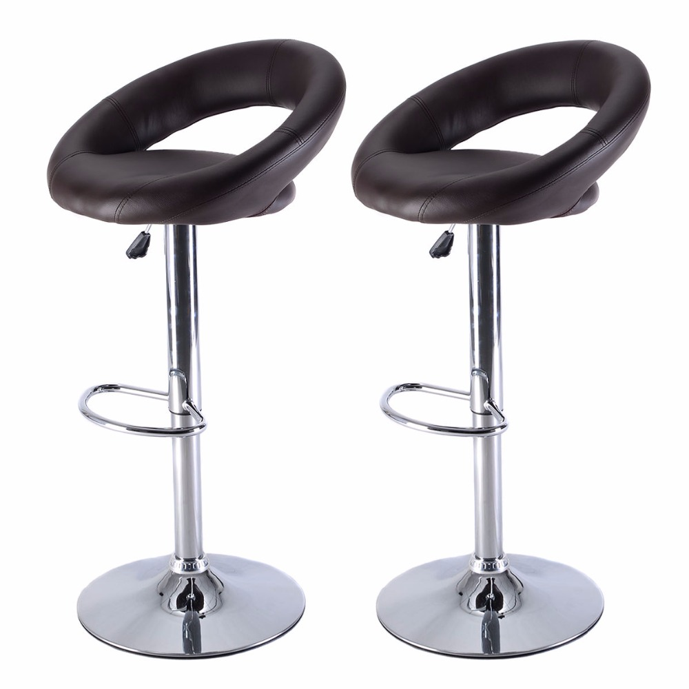 set of 2 pu leather adjustable swivel bar stool hydraulic chair barstools brown hw517152bn