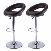 Set Of 2 PU Leather Adjustable Swivel Bar Stool Hydraulic Chair Barstools Brown Free Shipping HW51715