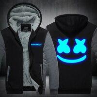Thick inner fleece winter autumn luminous glow in dark Marshmello hoodies men women hip hop Rapper DJ dancer hooded jacket coat