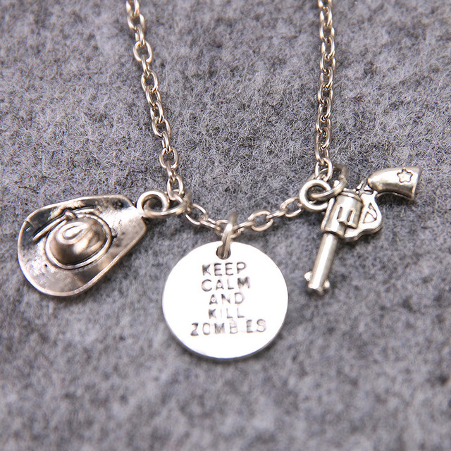 """KEEP CALM AND KILL ZOMBIES"" Charm Necklace"