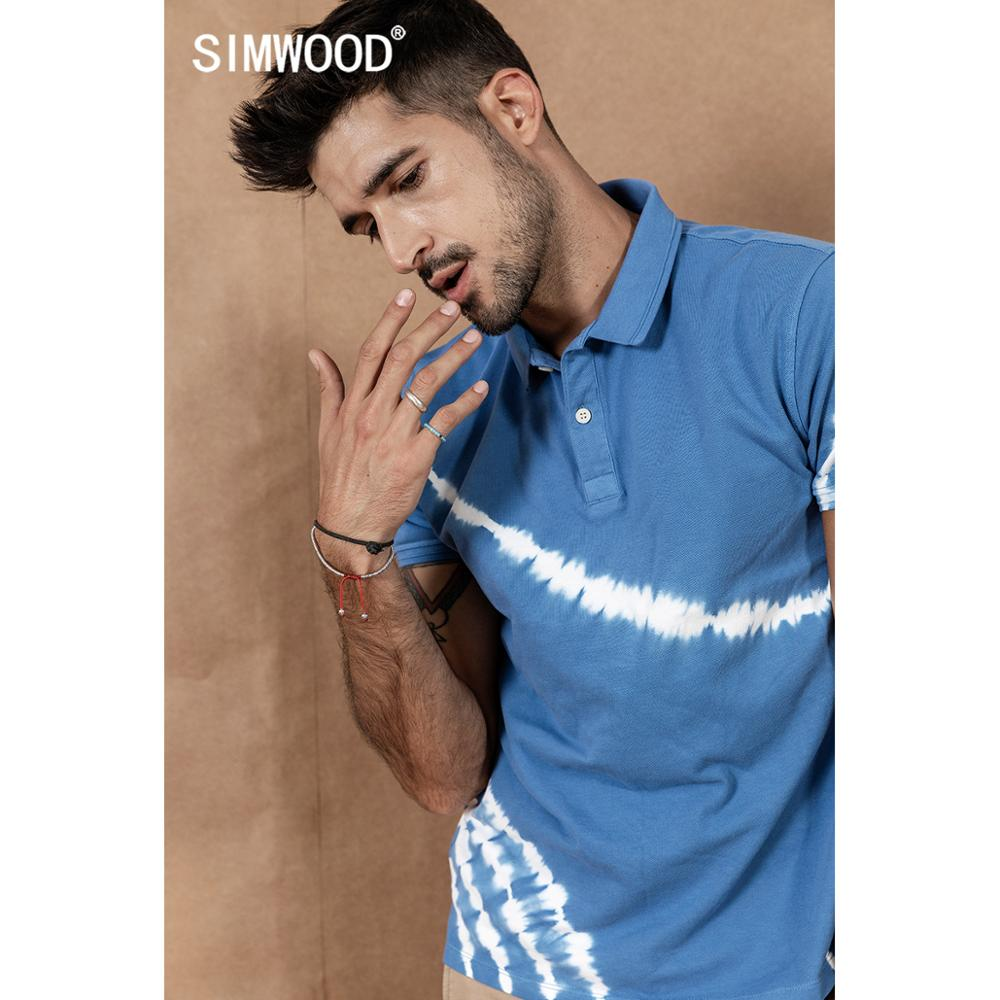 SIMWOOD 2020 Spring Summer New Polo Shirt Men Tie-dyed Fashion Contrast Color Short Sleeve High Quality Brand Clothing 190430