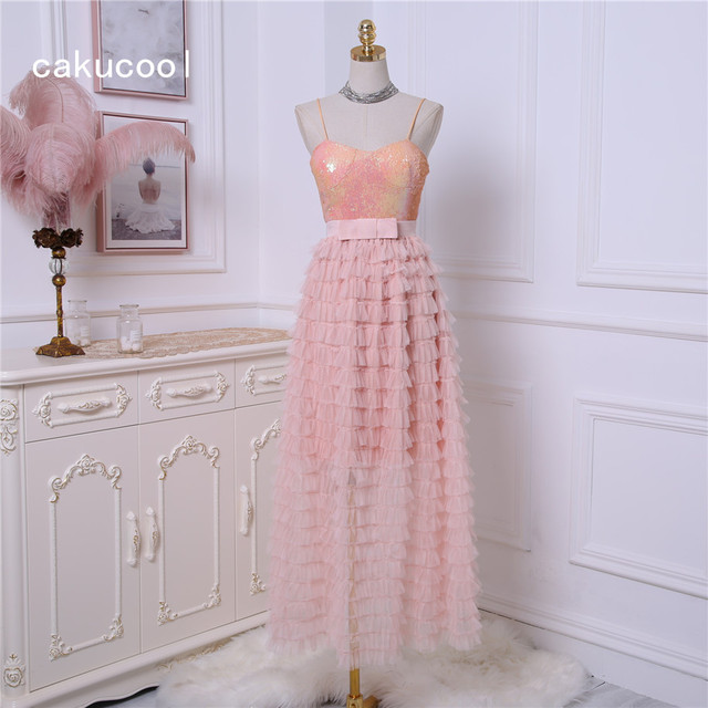 Cakucool New Summer Dress Women Bling Strapless Sequins Top Long Ball Gown  Mesh Vestido Sexy Party 39d3e6baf1db